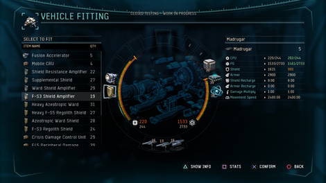 In game screenshot of the vehicle fitting interface
