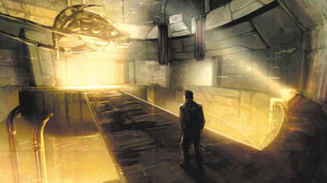 A man approaching his ship in the hangar.