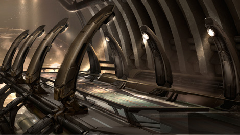 Concept art piece for the Amarr Captains Quarters walkway