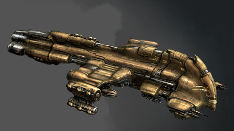 Concept art piece for the Harbinger battlecruiser