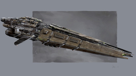 Concept art piece for the Hurricane battlecruiser