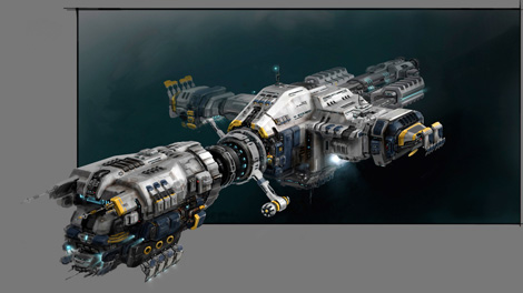 Concept art piece for the Primae industrial ship