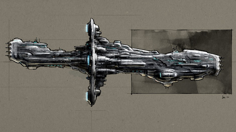 Concept art piece for the Hyperion battleship