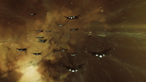 Ravens in Warp during EVE Dev Caravan event