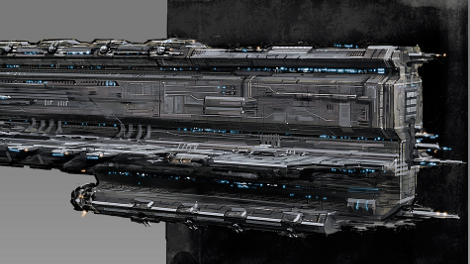 Concept art of Rokh battleship.