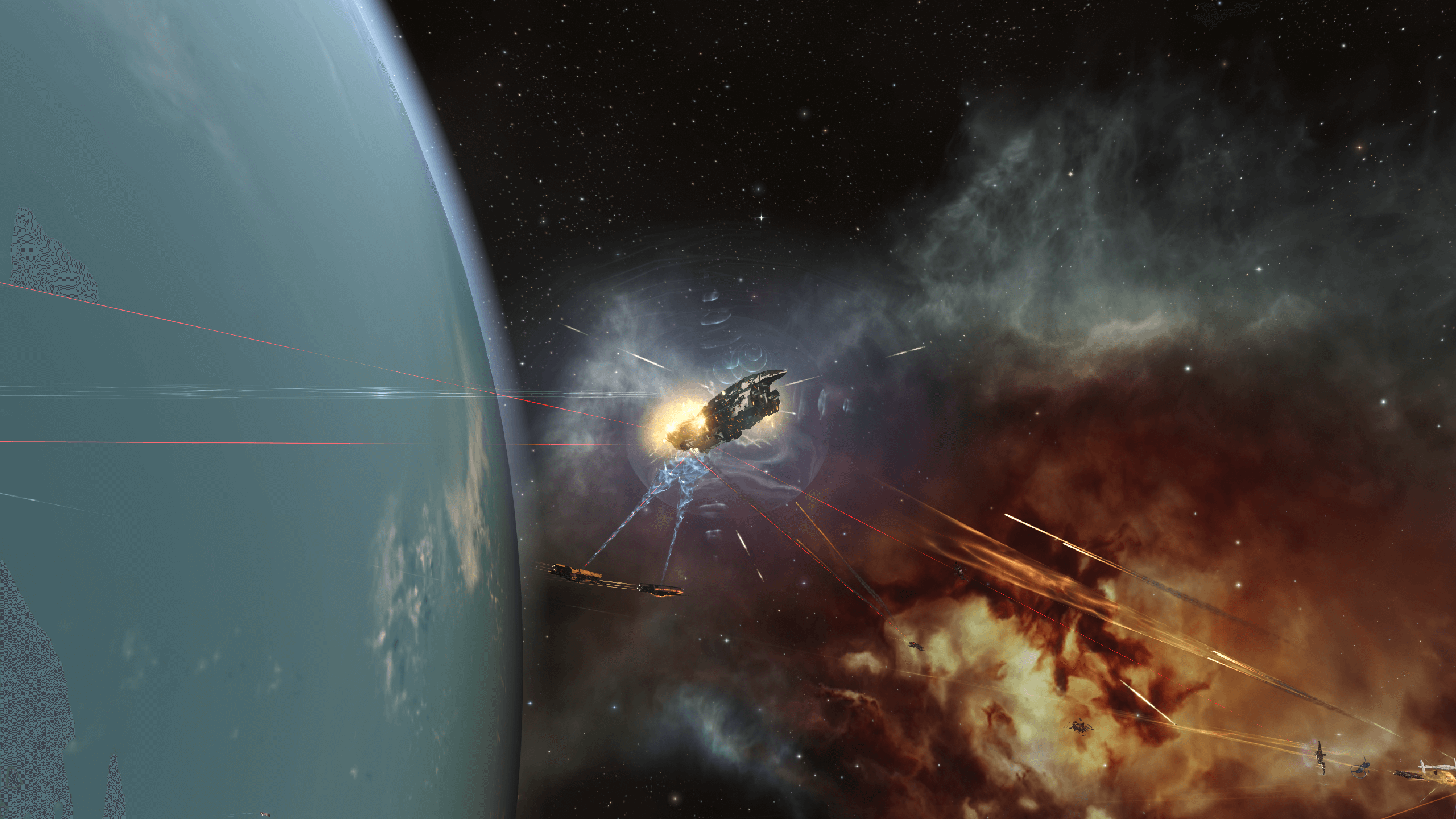 Amarr and Minmatar capsuleers in combat at Kahah III